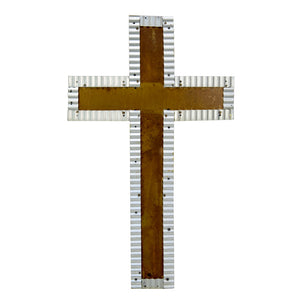 Galvanized Rust Cross w Beads