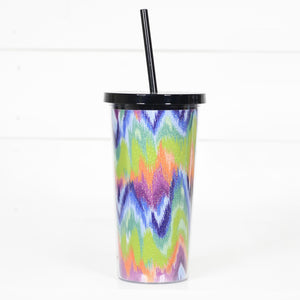 Neon Zig Zag Tumbler with Straw