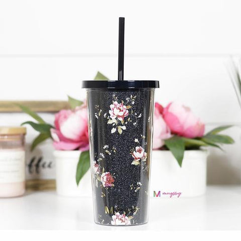 Vintage Floral Tumbler with Straw
