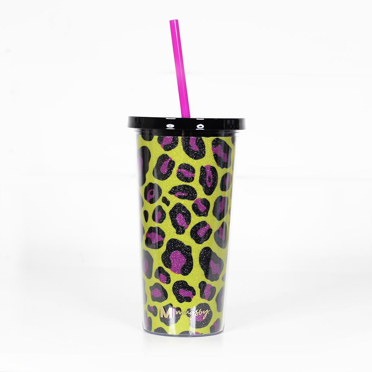 Yellow & Pink Leopard Glitter Tumbler with Straw