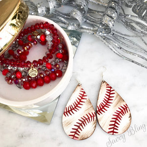 Wooden Baseball Earrings