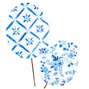 Blue & White Egg Stakes Large