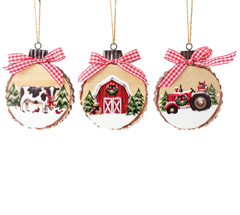 Farm Wood Disc Ornaments