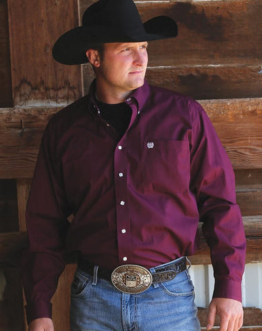 Cinch Men's Solid Maroon Button-Down Western Shirt