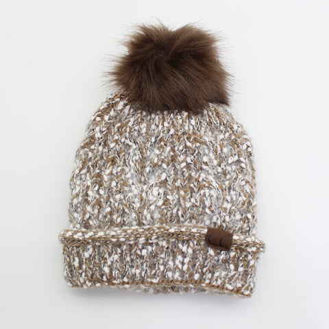 Knitted Winter Beanie With Pompom