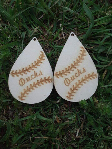 Team Wooden Baseball Earrings