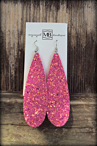 Glitter Pink Earrings