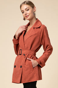 Wryn Belted Trench Coat in Rust