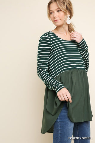 The Stacy Striped Scalloped Hem Top
