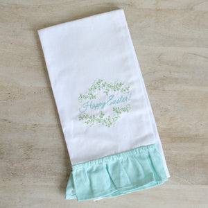 Happy Easter Ruffle Tea Towel