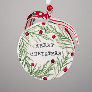 Merry Christmas Holly Flat Ornament