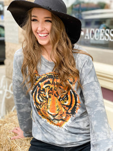 Roarin' Time Grey Tie Dye Tiger Top