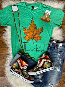 Green Thankful Leaf Tee