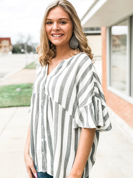 The Black and White Striped Ruffled Sleeve Top