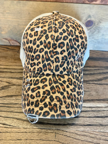 CrissCross Ponytail Baseball Hat || Leopard