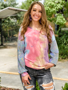 Lyza Tie Dye with Sequin Sleeve Top