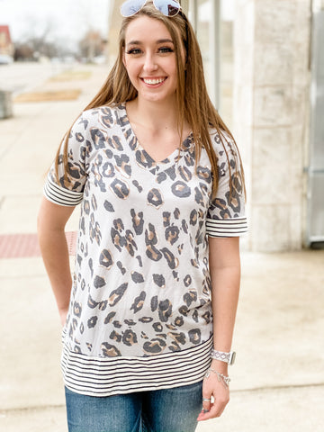 Taupe Leopard + Stripes Top