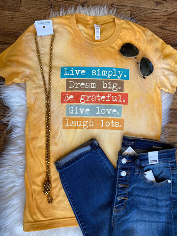 Live Simply Dream Big Bleached Vintage Tee