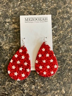 Glitter Star Teardrop Earrings in Red