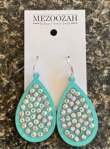 Laredo Rhinestone Teardrop Earrings in Turquoise