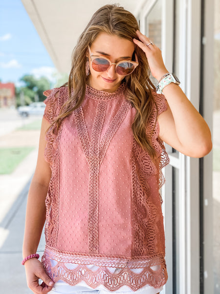 Amelia Chiffon and Lace Top in Mauve