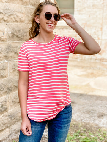 Coral and Ivory Striped Crewneck Top