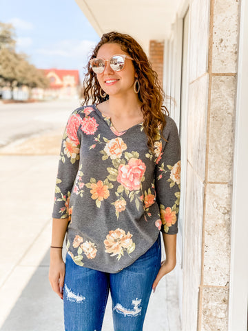 Henley Charcoal Floral Mix Top