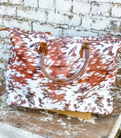 Cow Print Weekend Duffle Bag