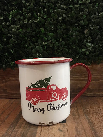 Little Red Truck Merry Christmas Mug