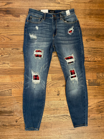 Judy Blue Buffalo Plaid Red Print Patch Skinny Jeans