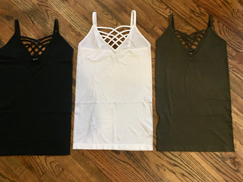 Solid Caged Tank Tops