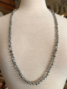 "18"" Bead Necklace - Mixed Silver"