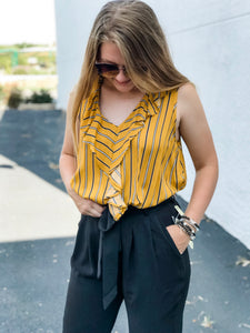 The Aimee Striped Mustard Top