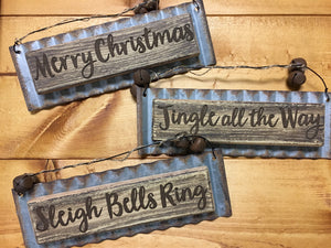 Wood w Tin Christmas Messages Orn