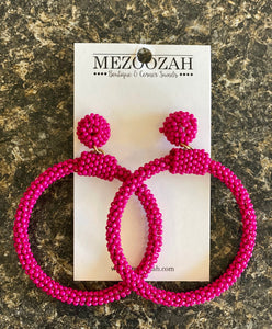Haley Beaded Earrings in Hot Pink