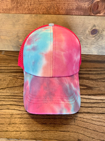 CrissCross Ponytail Baseball Hat || Tie Dye