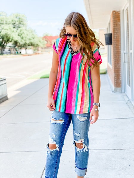 Jacey Pink Serape and Leopard Top