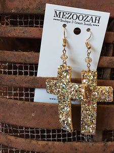 Gold Sparkle Cross Earrings
