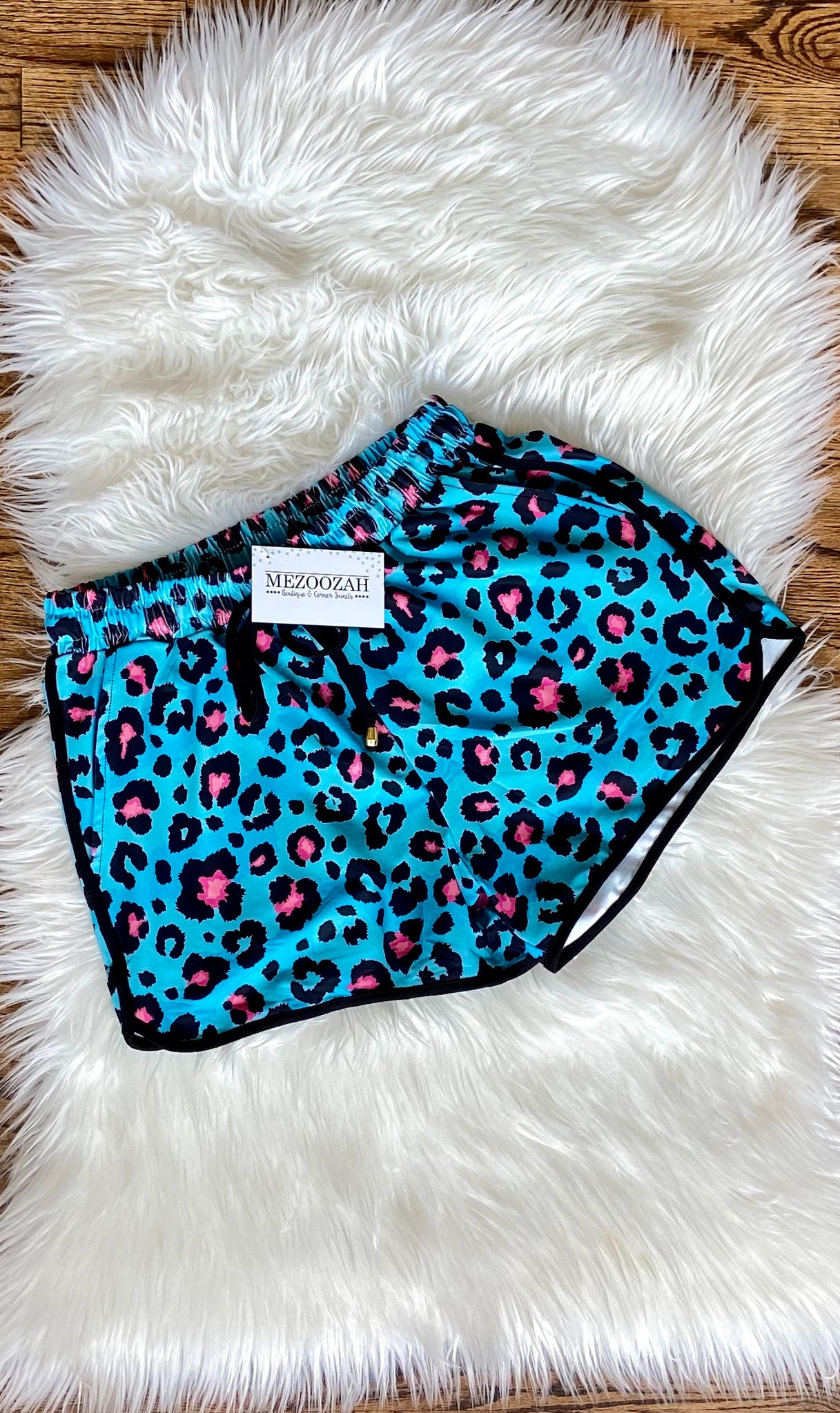 Teal Leopard Drawstring Everyday Shorts