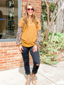 Briana Mustard & Leopard Mix Top