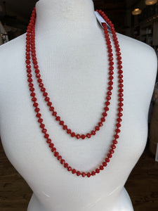"60"" Bead Necklace - Red"