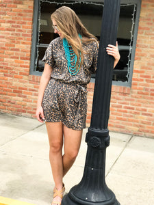 Out In Style Leopard Romper