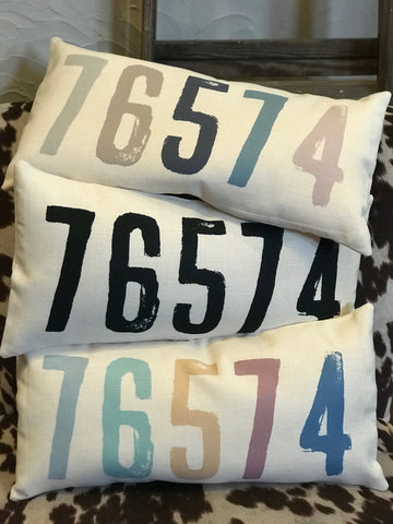 Zip Code Pillow - Black