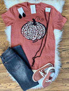Leopard Thankful Pumpkin Tee