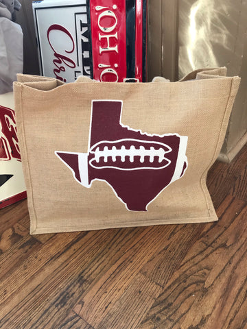 Texas Football Jute Tote