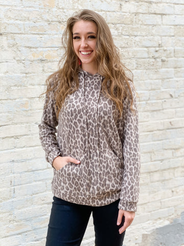 Miley Leopard Top with Hood