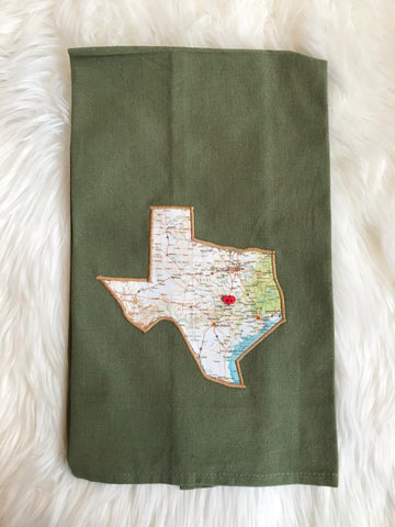 Map of Texas Sage Kitchen Towel - Taylor area