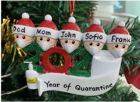 Quarantine Family Christmas Ornament