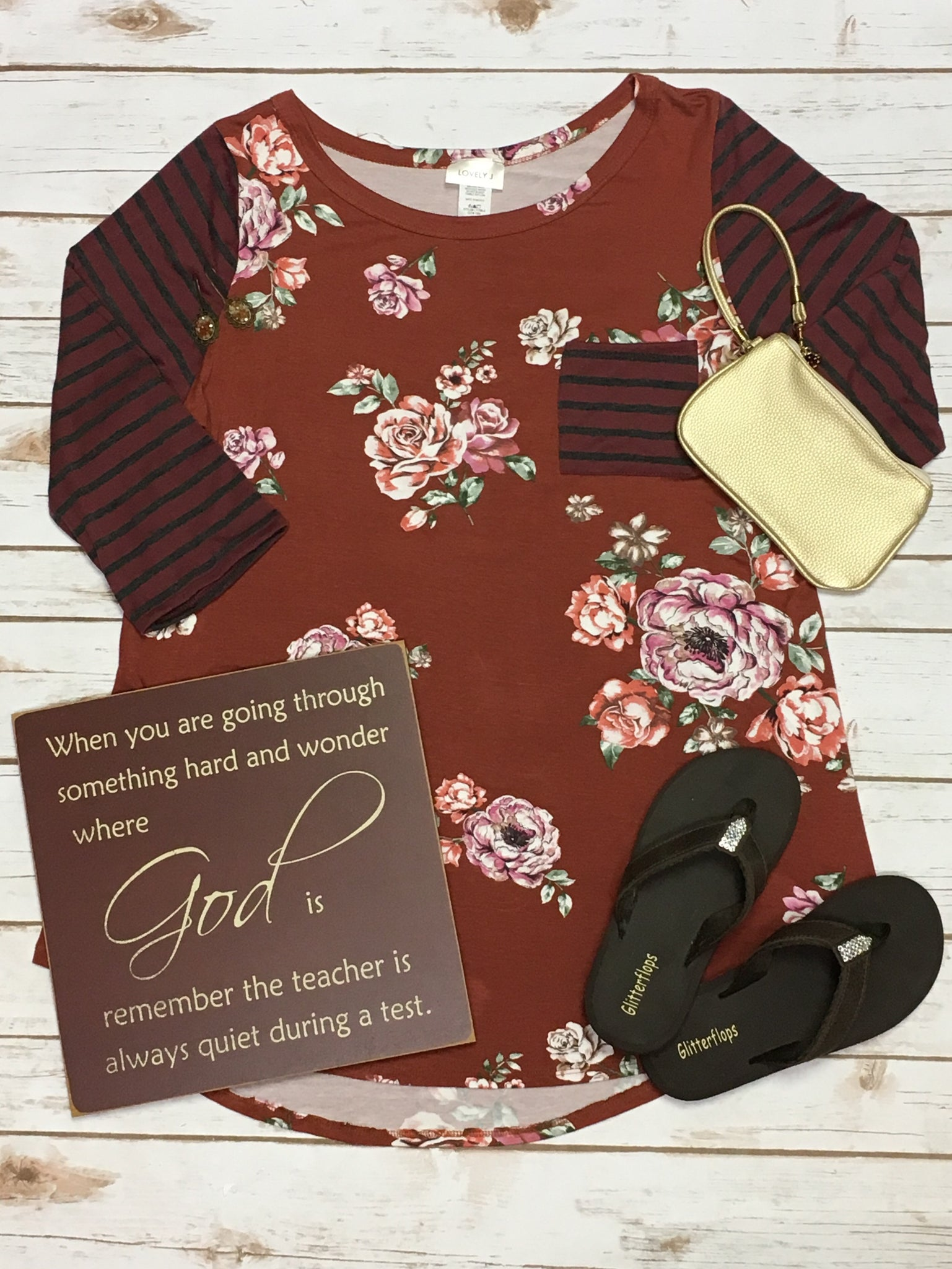 Kallie Floral and Stripe in Plus