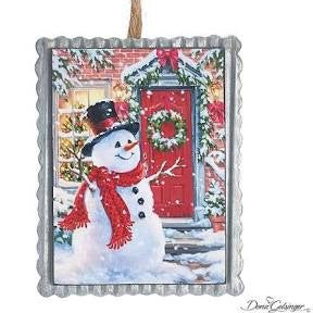 Tin Snowman Scene Ornament
